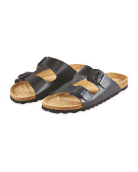 Avenue Men's Black Footbed Sandals