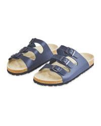Ladies' Dark Blue Footbed Sandals