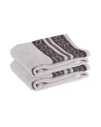 Grey Geometric Hand Towel 2 Pack