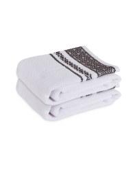 White/Black Hand Towel 2 Pack