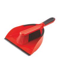 Red & Black Dustpan and Brush Set