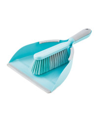 Teal & Grey Dustpan and Brush Set