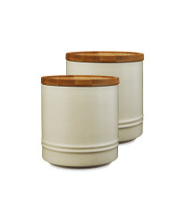 Medium Cream Kitchen Canister 2 Pack