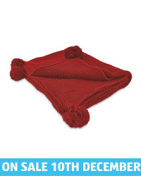 Deep Red Knitted Pompom Throw