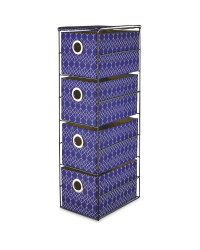 Navy 4 Drawer Fabric Storage Unit