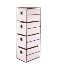 Pink 4 Drawer Fabric Storage Unit