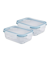 Blue Glass Food Storage Dish 2 Pack