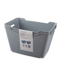 Grey 12L Storage Box 2 Pack