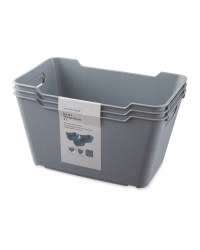 Grey 6L Storage Box 3 Pack
