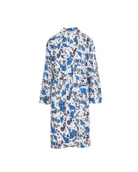 Blue Floral Waffle Dressing Gown