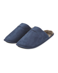 Navy Fibre Memory Foam Slippers