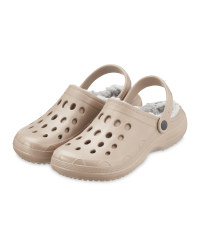 Avenue Beige Warm Lined Clogs