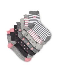 Kids' Light Grey Ankle Socks 7 Pack