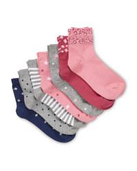 Kids' Pink Ankle Socks 7 Pack