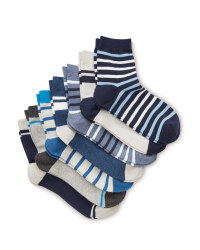 Kids' Blue/Grey Ankle Socks 7 Pack