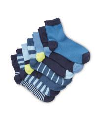 Kids' Dark Blue Ankle Socks 7 Pack
