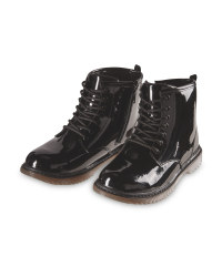 Girls' Black Patent Leather Boots