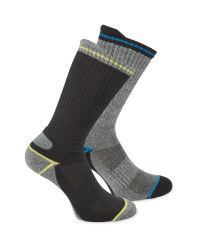 Men's Black/Grey Work Socks 2 Pack