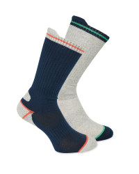 Men's Navy/Grey Work Socks 2 Pack