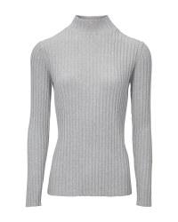 Ladies' Grey Stand Up Collar Jumper