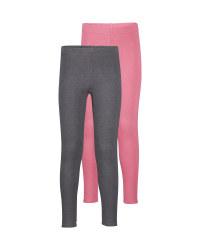 Girls' Grey/Pink Winter Leggings