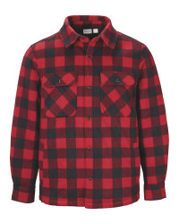 Men's Red Check Padded Jacket