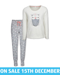 Avenue Ladies' Owl Fleece Pyjamas