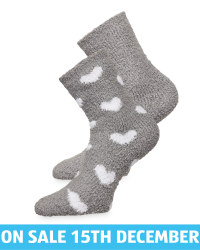 Avenue Grey/Heart Fluffy Socks 2 Pk