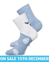 Avenue Blue Fluffy Socks 2 Pack