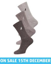 Men's Grey Chunky Socks 3 Pack