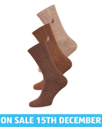 Men's Brown Chunky Socks 3 Pack