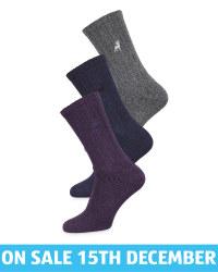 Men's Blue/Grey/Purple Socks 3 Pack