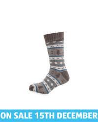 Men's Grey Fairisle Slipper Socks