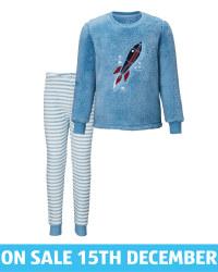 Kids' Blue Rocket Fleece Pyjamas