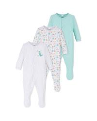 Dinosaur Baby Sleepsuit 3 Pack