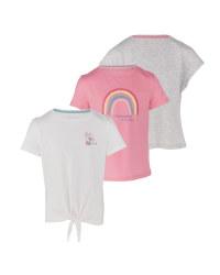 Girl's Shirt White & Rose 3 Pack