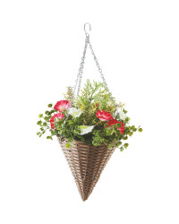 Artificial Flower Cone Basket - Red/White