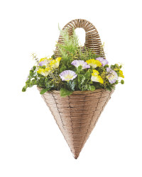 Artificial Flower Wall Basket - Yellow/Purple