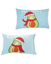 Avocado Christmas Pillowcase Pair