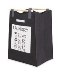 Black Laundry Bag With Slogan