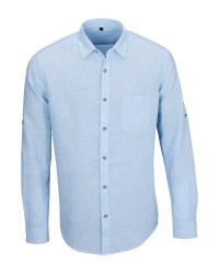 Men's Blue Linen Blend Shirt