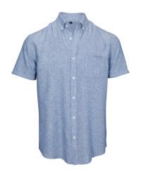 Blue Men's Linen Blend Shirt