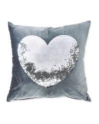 Charcoal Silver Sequin Heart Cushion