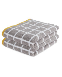Check Grey Hand Towels 2 Pack