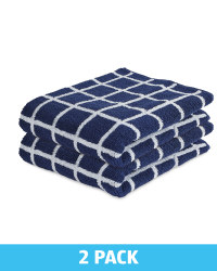 Check Navy Hand Towels 2 Pack