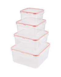 Christmas Clip Lid Storage Square - Red