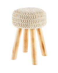 Cream Knitted Stool