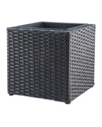 Cubed Rattan Effect Planter - Black