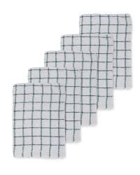 Dark Green Terry Tea Towels 5 Pack