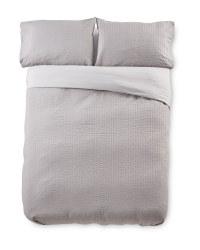 Double Grey Stripe Cotton Duvet Set
